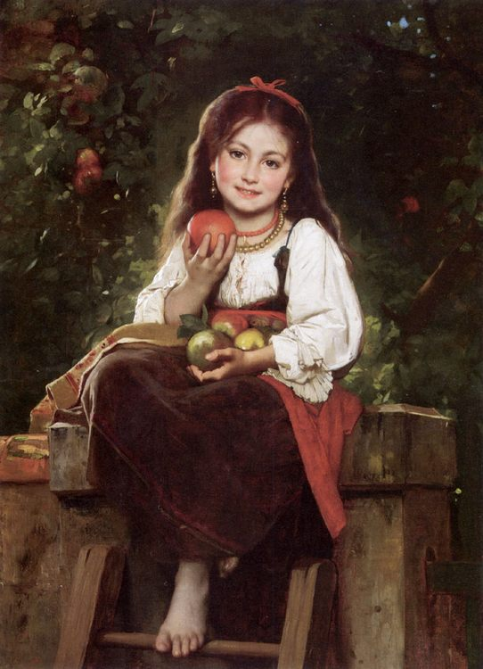 The Apple Picker :: Leon Bazile Perrault - Portraits of young girls in art and painting ôîòî
