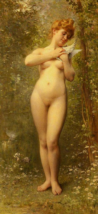 Venus A La Colombe :: Le'on Bazile Perrault - nu art in mythology painting ôîòî