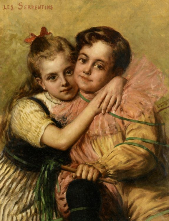 The Streamers [ portrait of girl and boy ] :: Leon Herbo - Children's portrait in art and painting фото