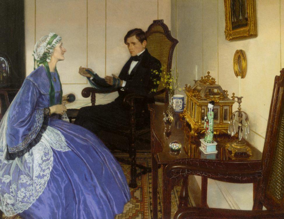 A Blue Dress :: Leonard Campbell Taylor - Interiors in art and painting ôîòî