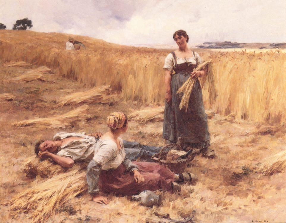 Harvesters at Mont-Saint-Pere :: Leon-Augustin L'hermitte - Village life ôîòî