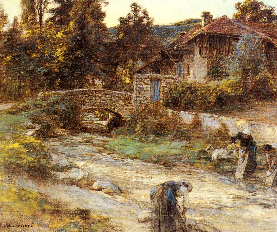Washerwomen at a Stream with Buildings beyond :: Leon-Augustin L'hermitte - Village life фото