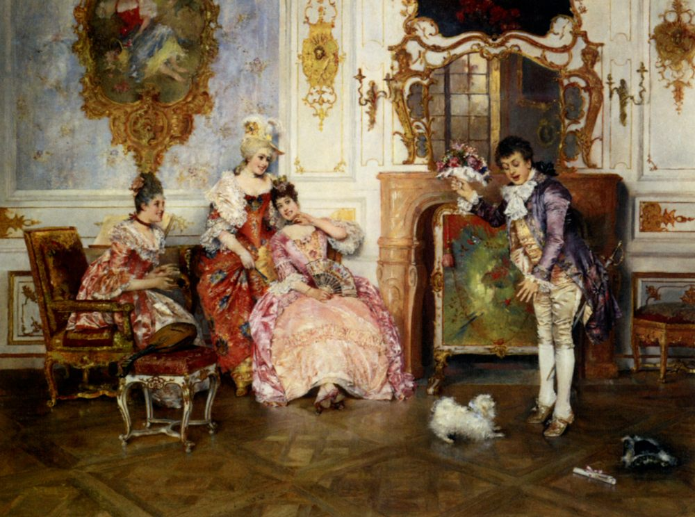 The Suitors :: Leopold Schmutzler - Romantic scenes in art and painting ôîòî