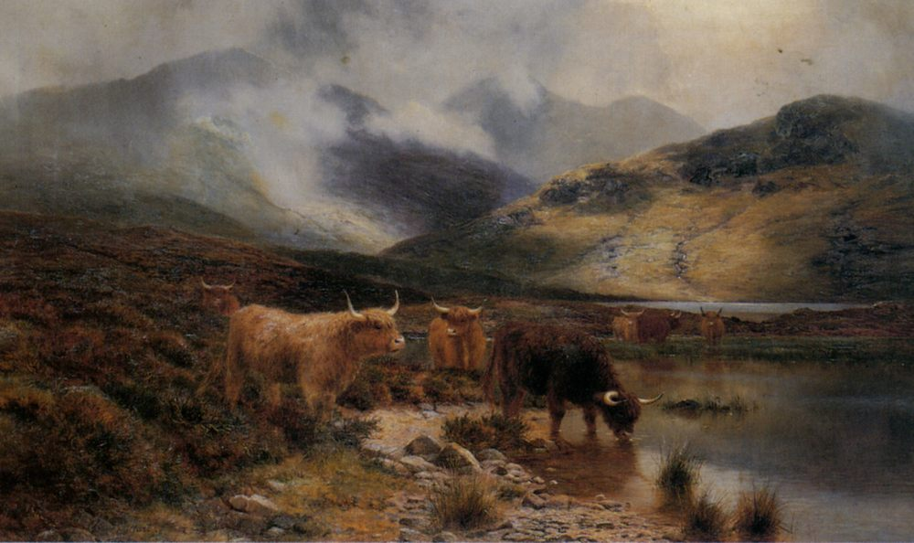 By an Argyllshire Loch between the Showers :: Louis Bosworth Hurt - Mountain scenery ����