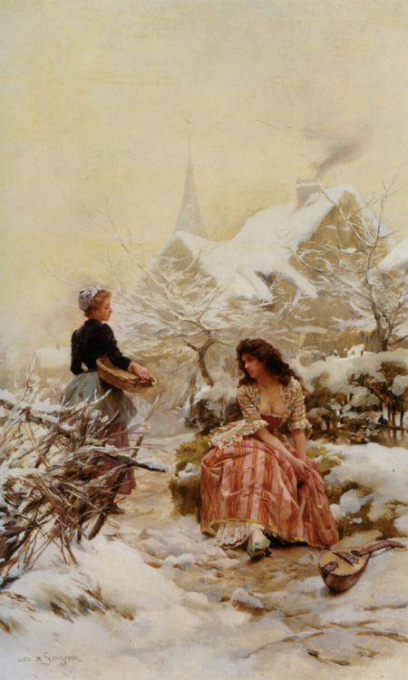 Blue winter :: Louis Marie de Schryver - Romantic scenes in art and painting ôîòî