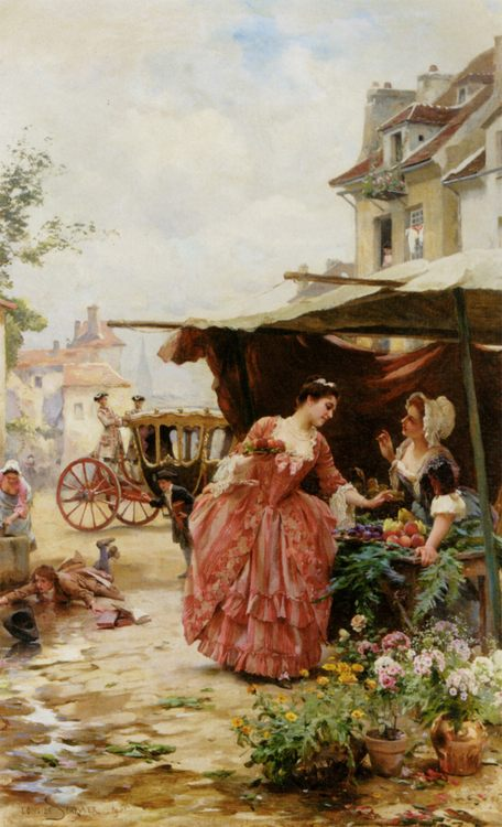 A Merchant Fruit and Flowers :: Louis Marie de Schryver - Romantic scenes in art and painting ôîòî