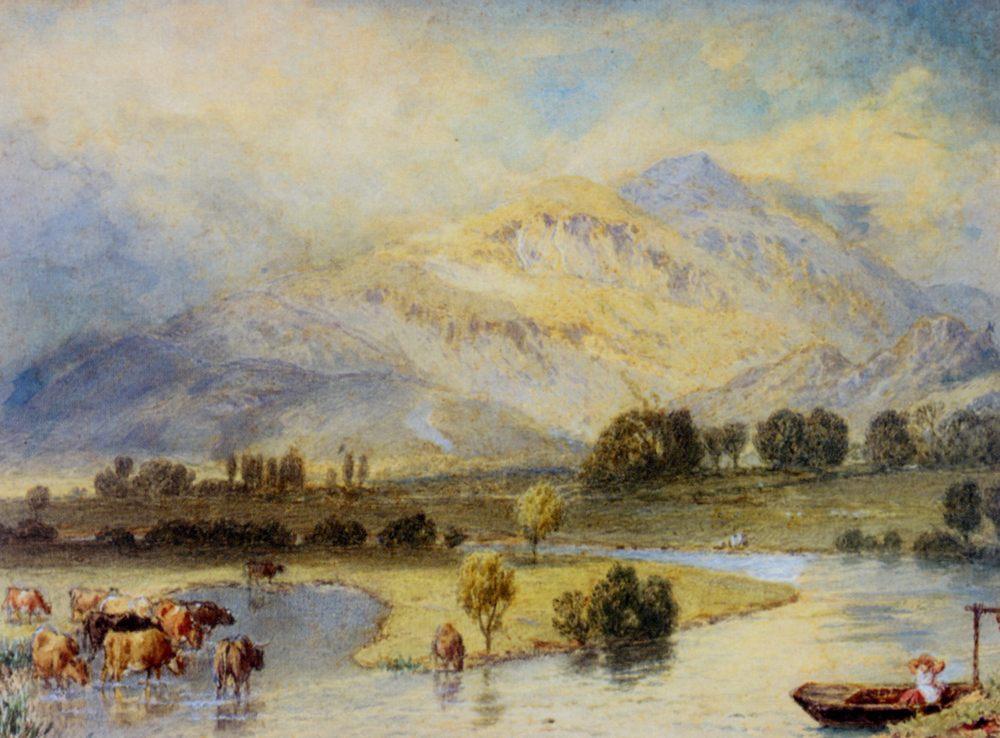 Cattle Watering :: Myles Birket Foster - Mountain scenery ôîòî