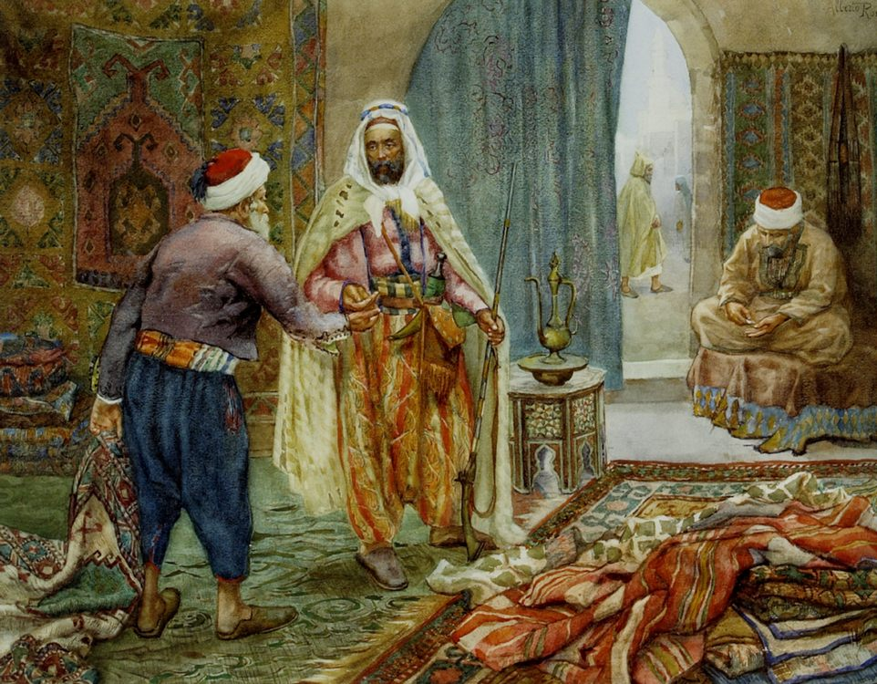 The Carpet Seller :: Alberto Rosati - scenes of Oriental life (Orientalism) in art and painting ôîòî