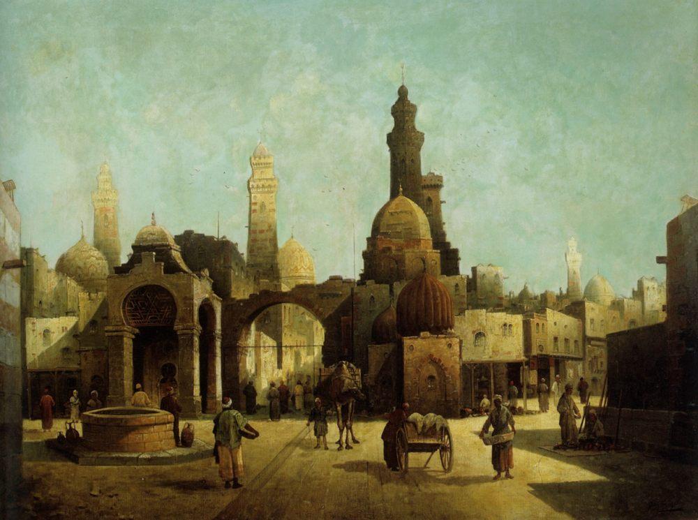 Figures Outside a North African Town :: August von Siegen - Oriental architecture ôîòî