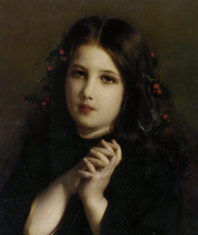 A Young Girl with Holly Berries :: Etienne Adolphe Piot - Young beauties portraits in art and painting фото