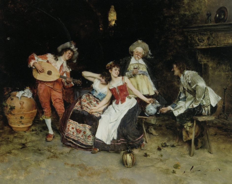 In The Wine Cellar :: Francesco Vinea - Romantic scenes in art and painting ôîòî