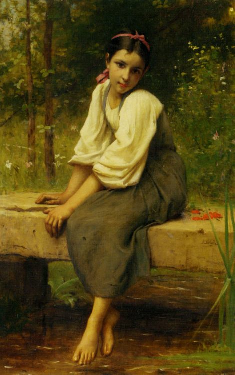Moment of Reflection :: Francois Alfred Delobbe - Young beauties portraits in art and painting ôîòî