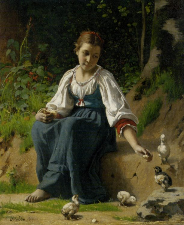 Young Girl Feeding the Baby Chicks :: Francois Alfred Delobbe - Young beauties portraits in art and painting фото
