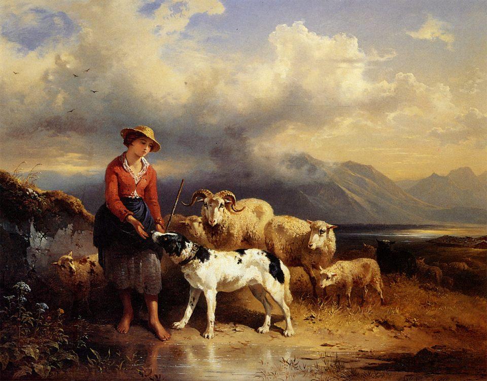 A girl with sheep :: Friedrich Gauermann - village life фото