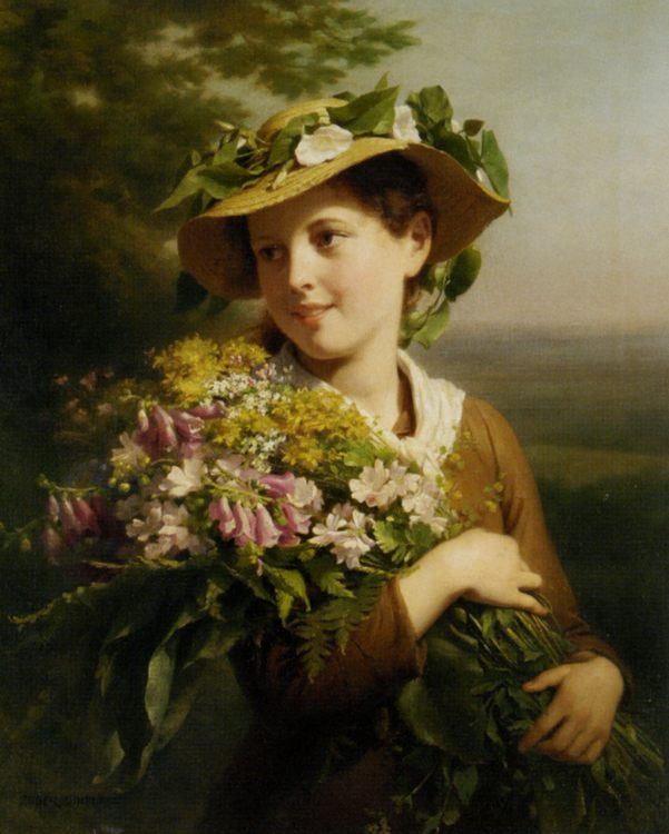 Young Beauty with Bouquet :: Fritz Zuber-Buhler - Young beauties portraits in art and painting фото