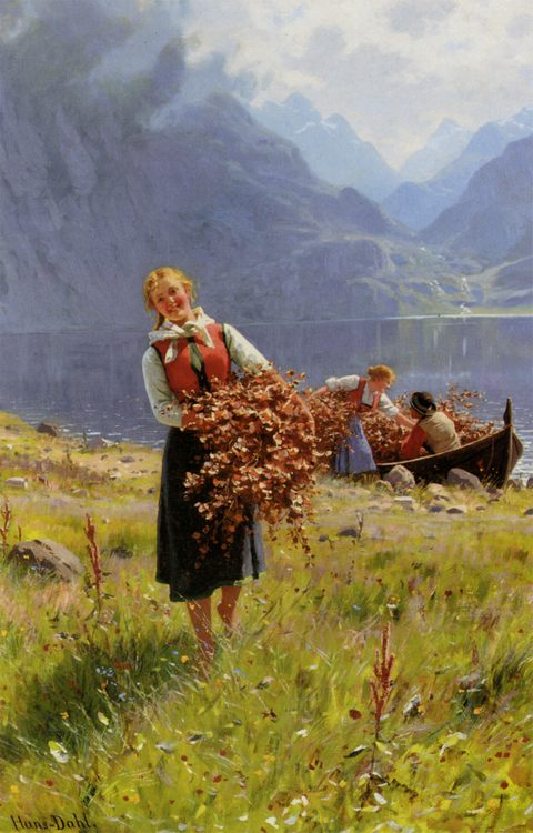 The Sun of the Norwegian Fjord :: Hans Dahl - Village life фото