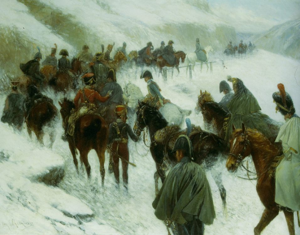 Napoleaon Leading His Troops Through Guadarrama Mountains :: Jan Von Chelminski - History painting фото