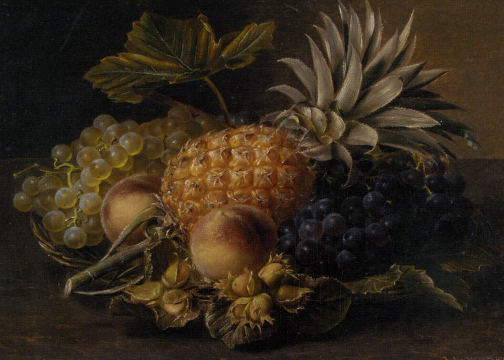 Fruit and Hazlenuts in a Basket :: Johan Laurentz Jensen - Still-lives with fruit фото