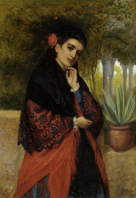 Spanish Beauty in a Lace Shawl :: John Bagnold Burgess - 7 female portraits ( the end of 19 centuries ) in art and painting фото