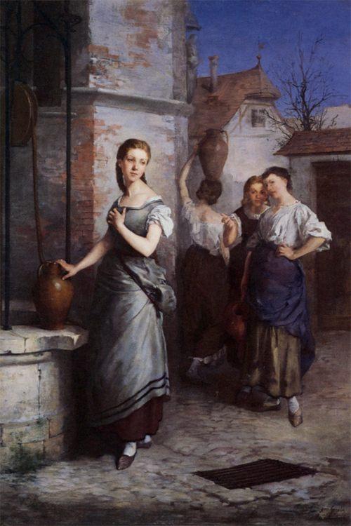 Margarita at the Fountain :: Juan Antonio Gonzalez - Romantic scenes in art and painting фото
