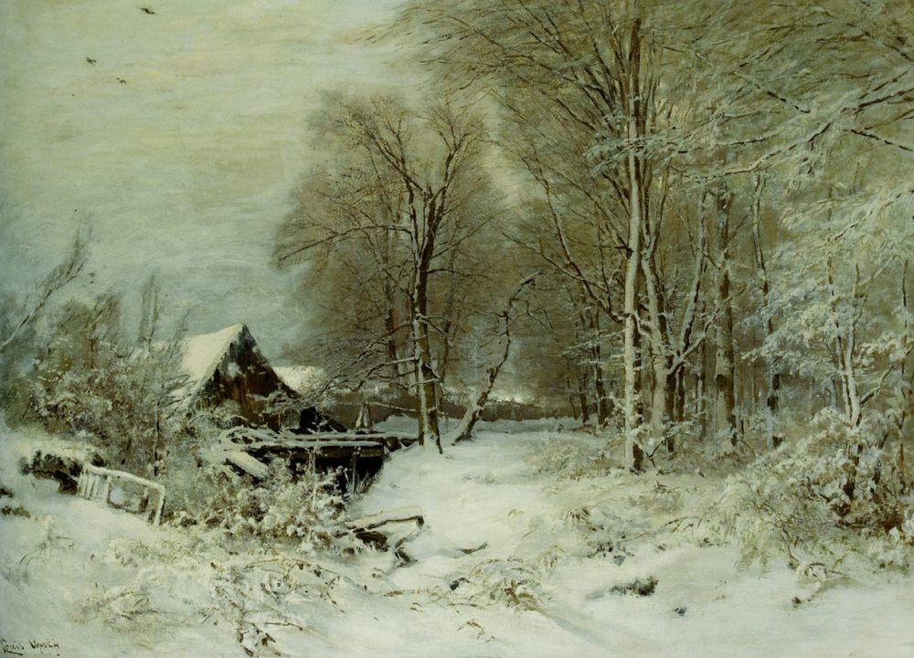 A Cottage in a Snowy Landscape :: Louis Apol  - winter landscapes фото