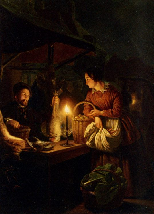 The Candlelit Market  :: Petrus Van Schendel - Interiors in art and painting ôîòî