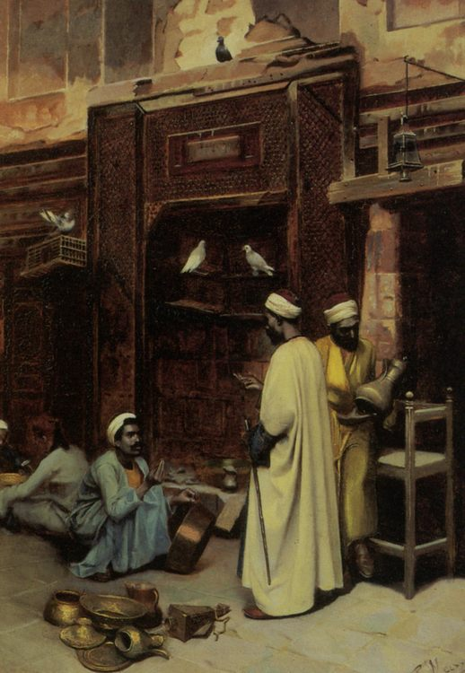 The Walk in Cairo :: Rudolphe Weisse - scenes of Oriental life ( Orientalism) in art and painting фото