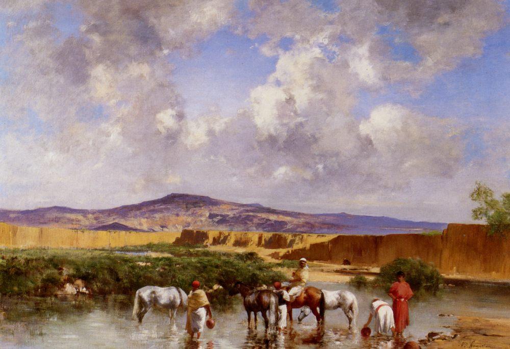 Watering at the Wadi  :: Victor Pierre Huguet - Mountain scenery ôîòî