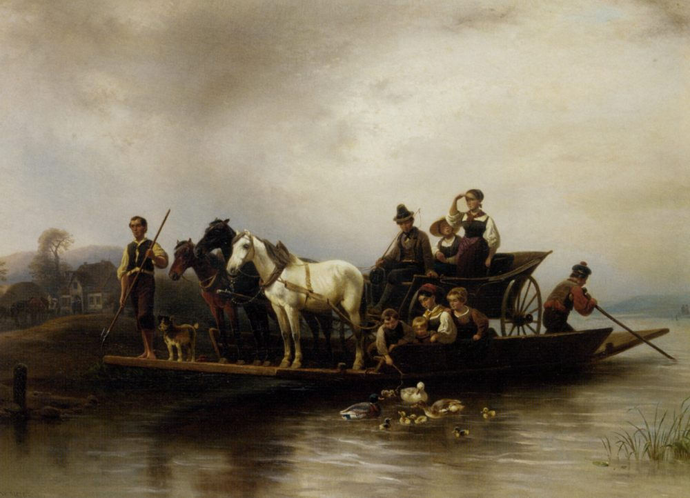 The Ferry Arrives :: Wilhelm Alexander Meyerheim - Horses in art ôîòî