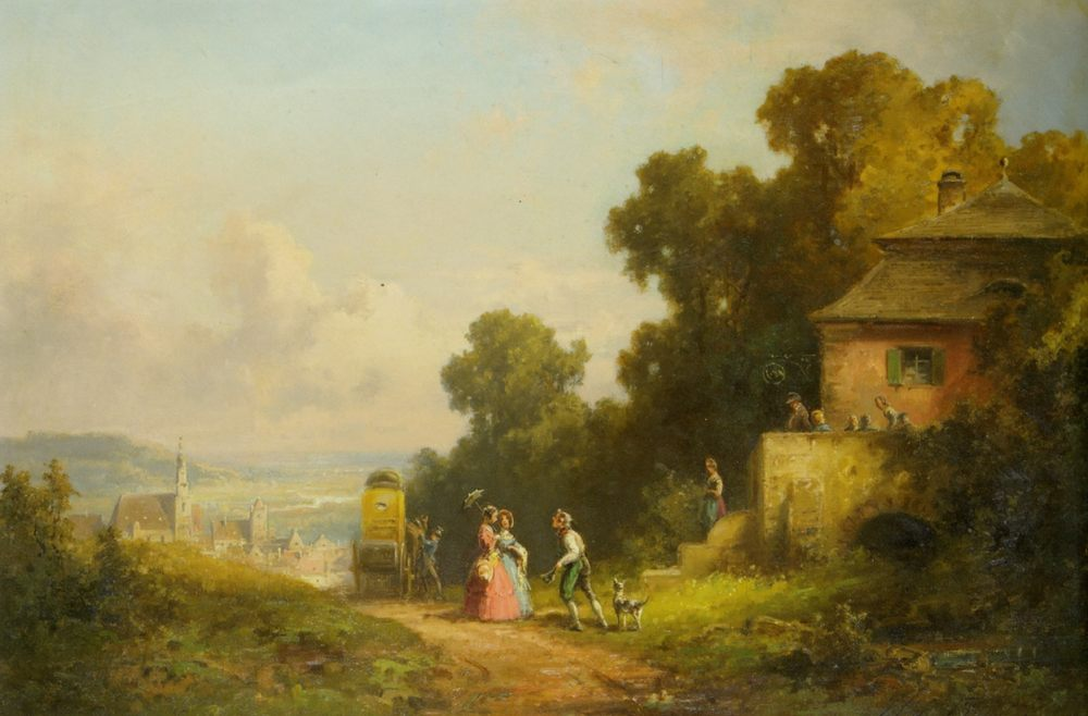 Figures and a Carriage on a Path with a Village Beyond :: Willy Moralt - Summer landscapes and gardens ôîòî