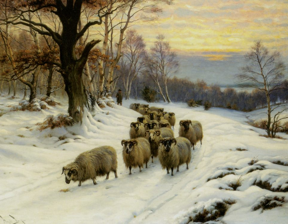 A Shepherd and his Flock on a Path in Winter :: Wright Barker - winter landscapes фото