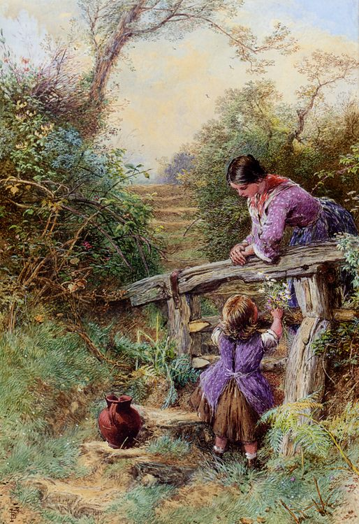 The Stile :: Myles Birket Foster - Woman and child in painting and art фото