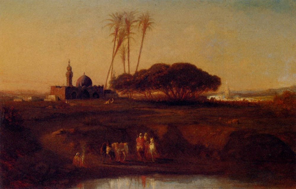 Arabs At An Oasis At Dusk :: Narcisse Berchere - scenes of Oriental life ( Orientalism) in art and painting фото