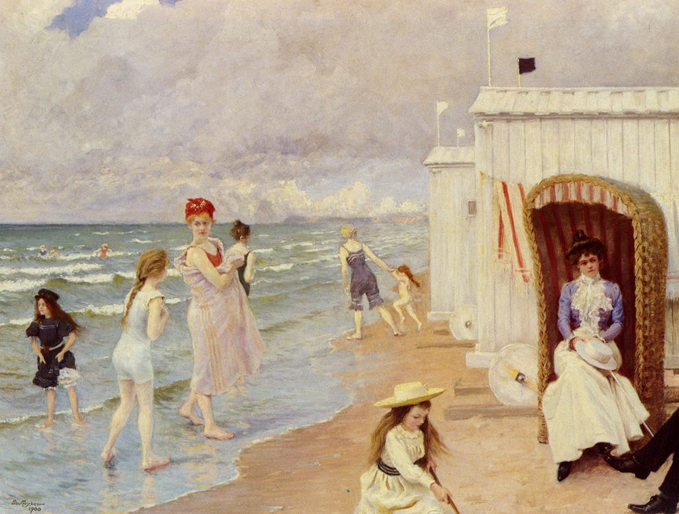 A Day At The Beach :: Paul Gustave Fischer  - Woman and child in painting and art фото