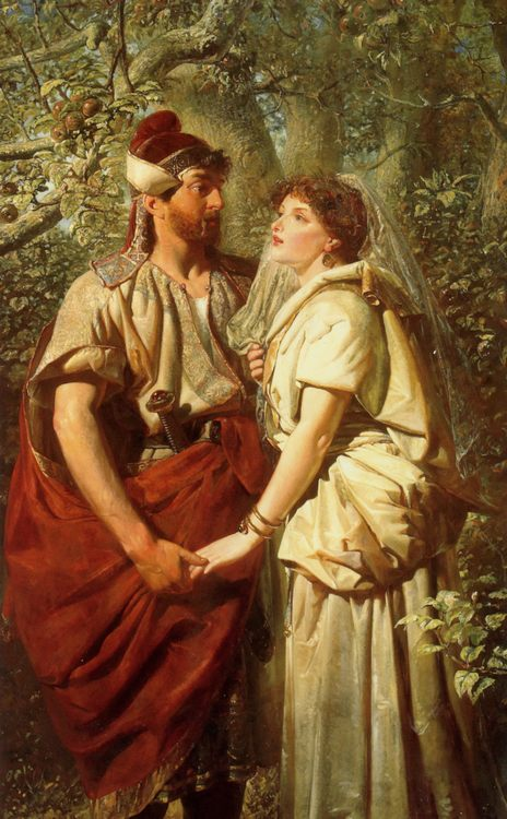 Troilus and Cressida in the Garden of Pandarus :: Edward Henry Corbould - mythology and poetry ôîòî