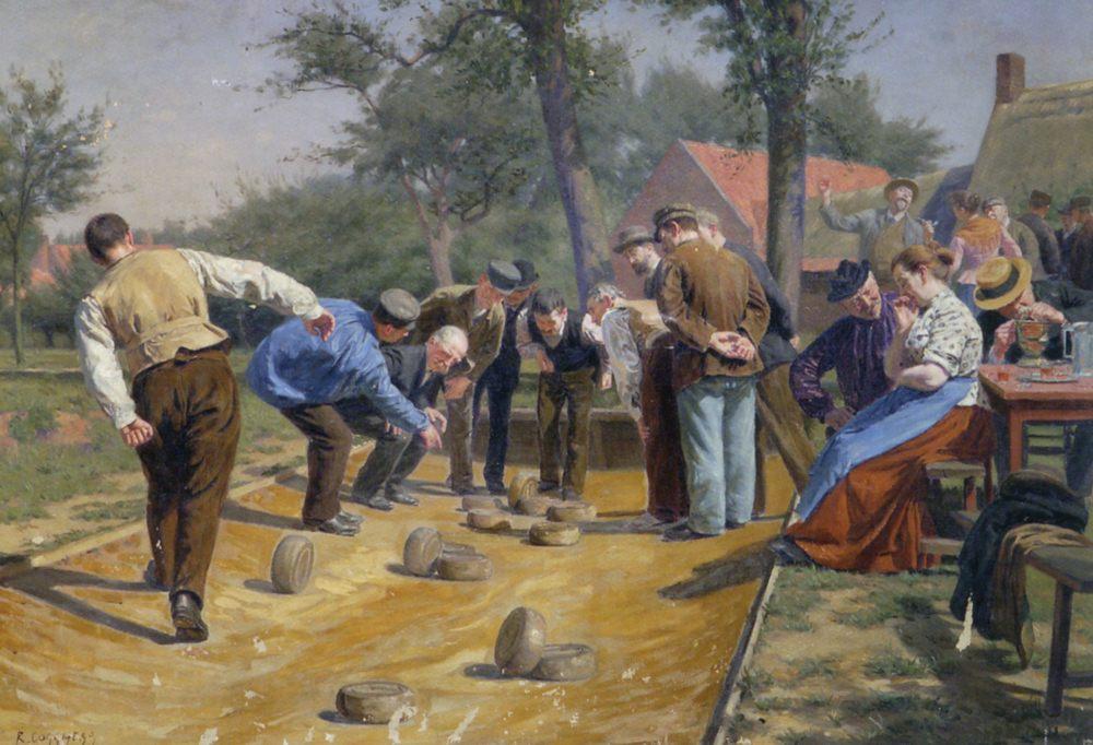 Playing Boules iin a Flemish Village :: Remy Cogghe - Village life ôîòî