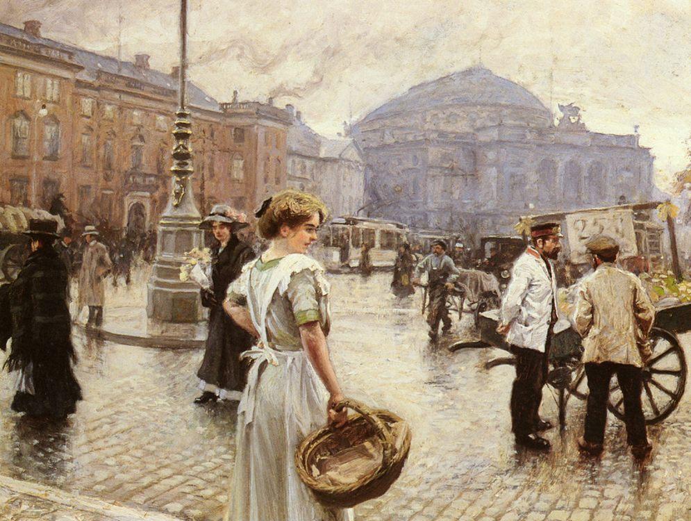 A View Of Kongens Nytorv, Copenhagen :: Paul Gustave Fischer - Street and market genre scenes фото