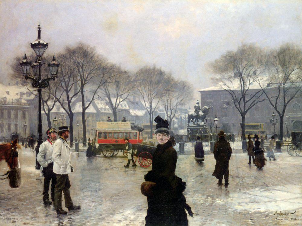 A Winter's Day on Kongens Nytorv Copenhagen :: Paul Gustave Fischer - Street and market genre scenes фото