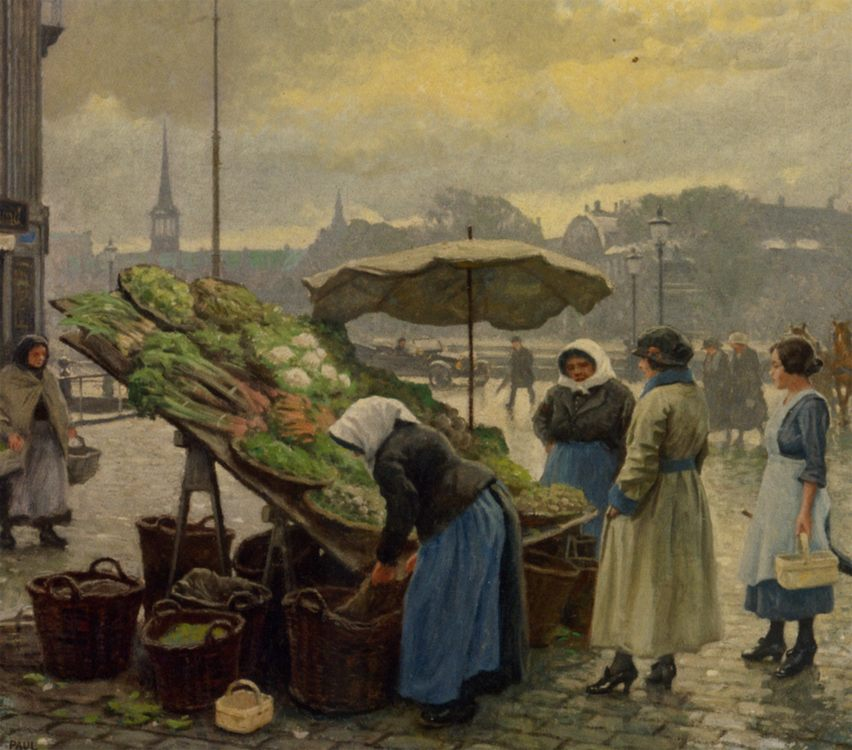 At the Vegetable Market :: Paul Gustave Fischer - Street and market genre scenes ôîòî