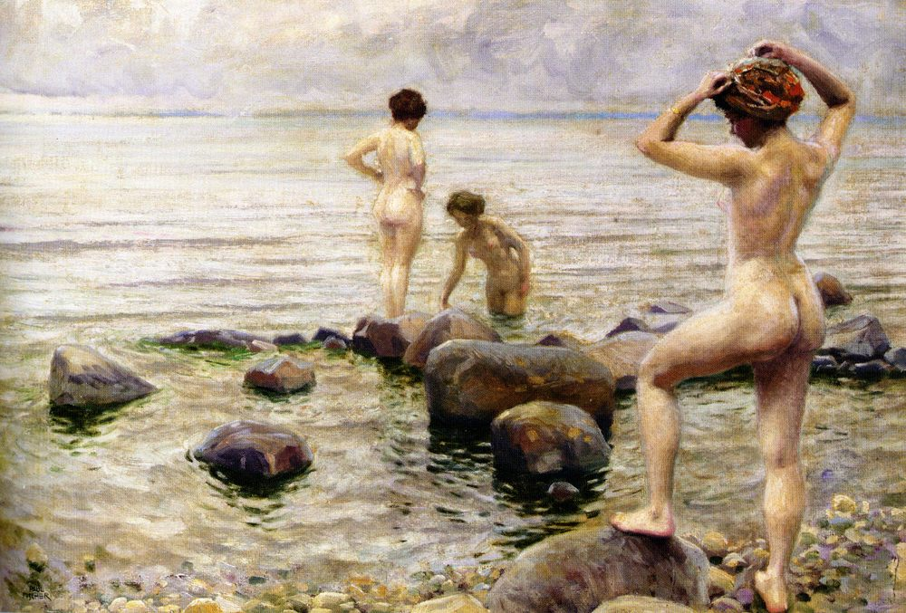 Girls are bathing :: Paul Gustave Fischer - Nu in art and painting фото