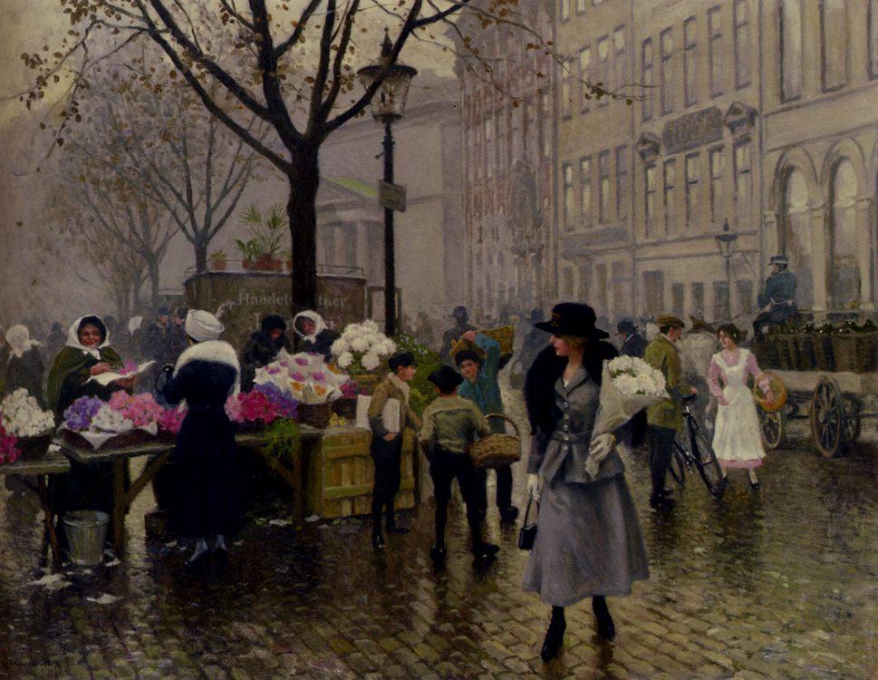 The Flower Market, Copenhagen :: Paul Gustave Fischer - Street and market genre scenes ôîòî