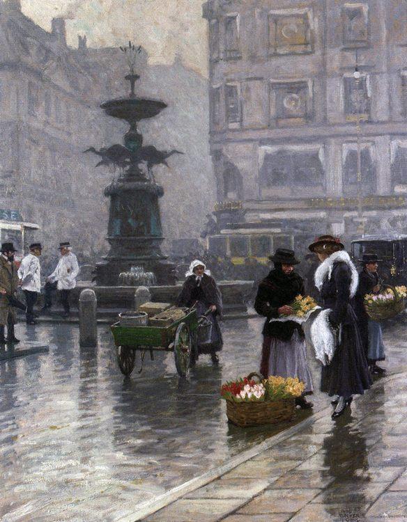The Stork Fountain in Amagertorv  :: Paul Gustave Fischer - Streets ôîòî