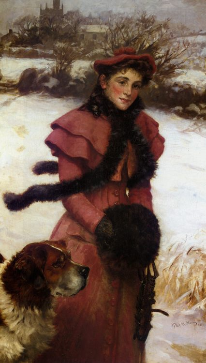 A Winter Walk :: Philip Richard Morris - 7 female portraits ( the end of 19 centuries ) in art and painting фото