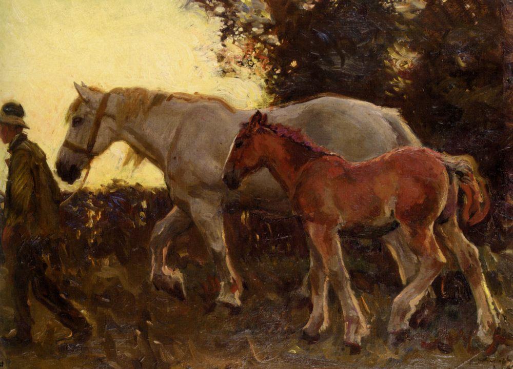 Wending Home :: Sir Alfred James Munnings  - Horses in art ôîòî