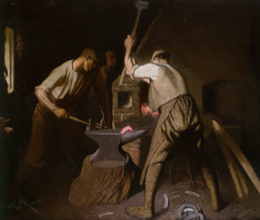 Our Blacksmith :: Sir George Clausen - Interiors in art and painting фото
