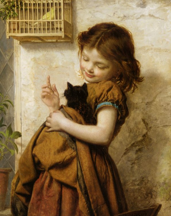 Her Favorite Pets :: Sophie Gengembre Anderson  - Portraits of young girls in art and painting фото