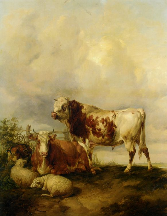 A Bull and Cow with Two Sheep and Goat :: Thomas Sidney Cooper - Animals фото