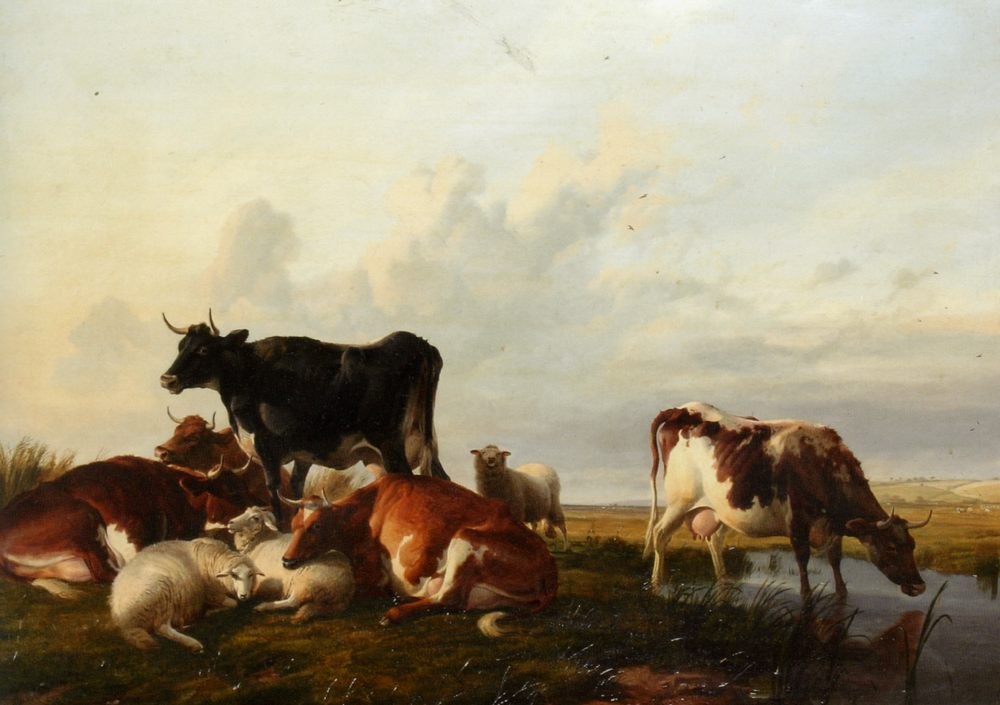 Cattle and Sheep Probably in Canterbury Meadows :: Thomas Sidney Cooper - Animals фото