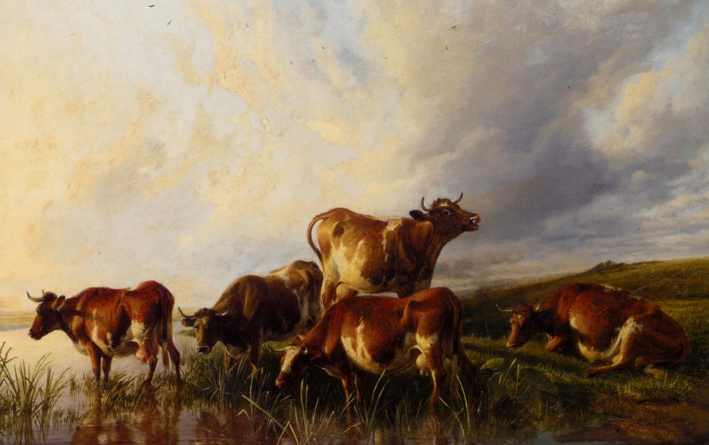 Cattle Wattering :: Thomas Sidney Cooper - Animals фото
