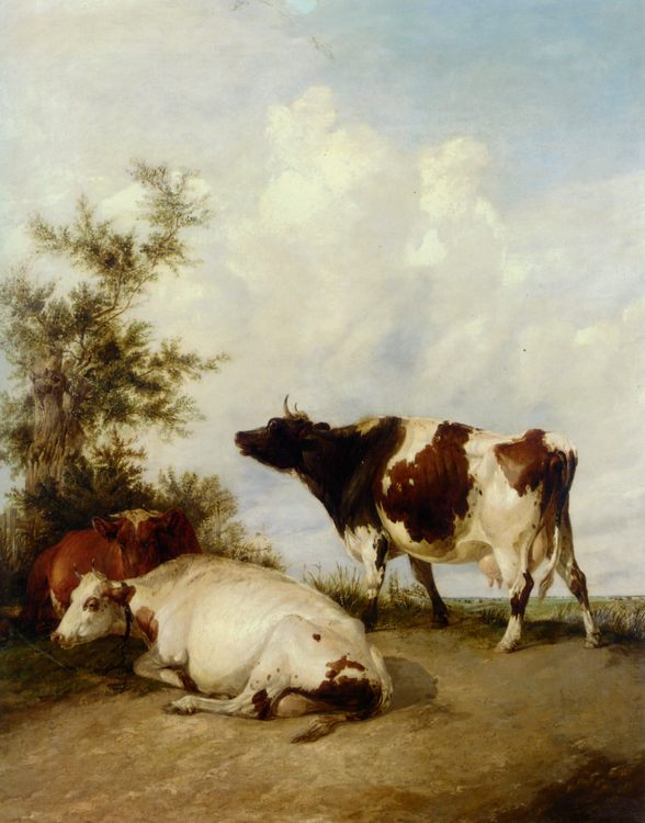 Cows in a Meadow :: Thomas Sidney Cooper - Animals фото